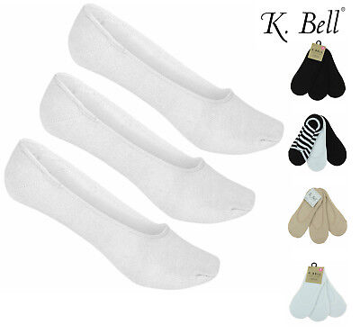 - K. Bell Womens 3 Pack No-Show Liners with Silicone Grip Heels Below Ankle Socks