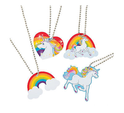 12 UNICORN Dog Tag Necklaces Metal Toys Birthday Party Favors