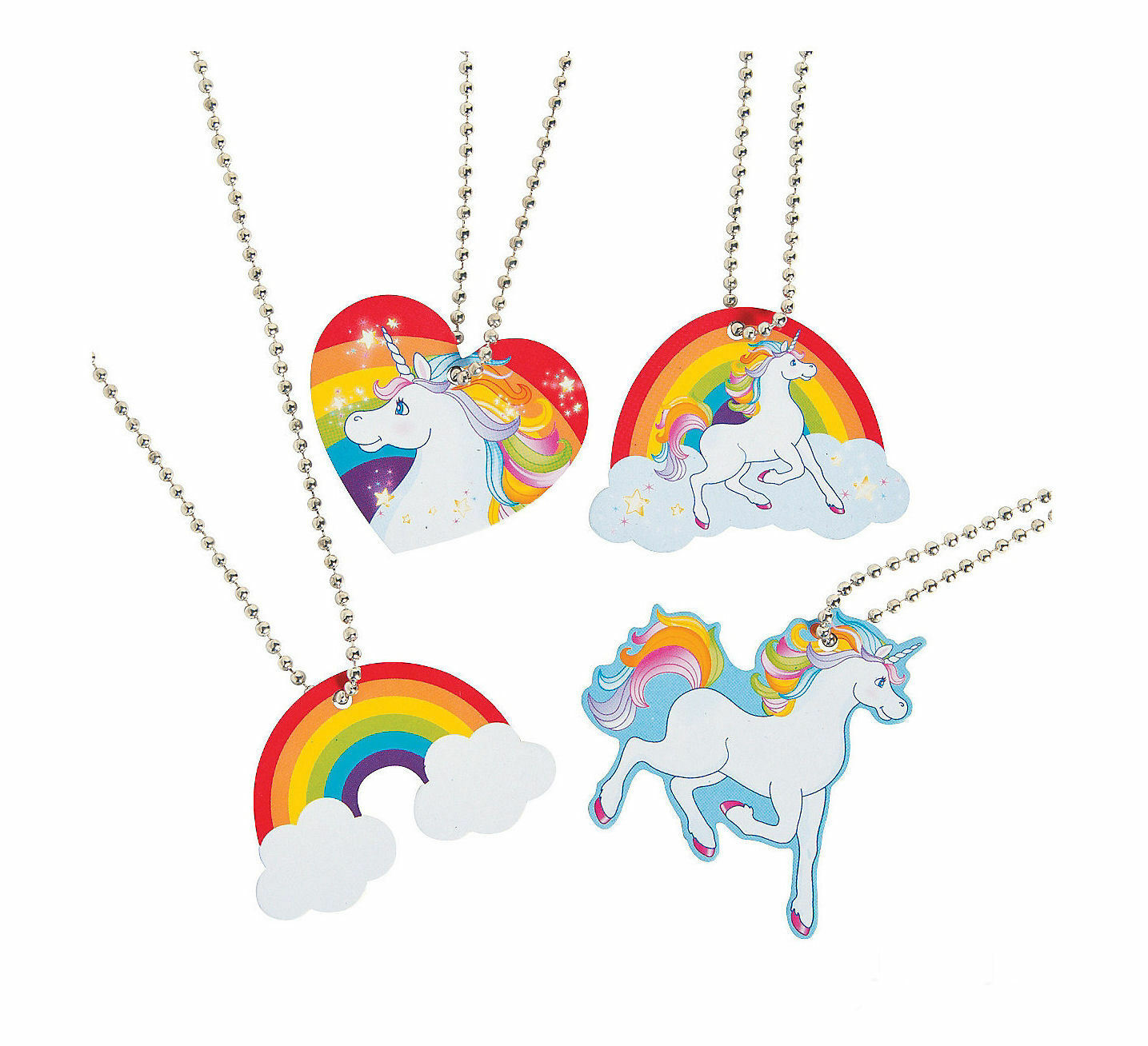12 UNICORN Dog Tag Necklaces Metal Toys Birthday Party Favor