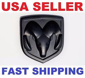 new 3d dodge ram head matte black emblem logo badge front hood flat trunk grille fits more than one vehicle - Dodge Ram Logo