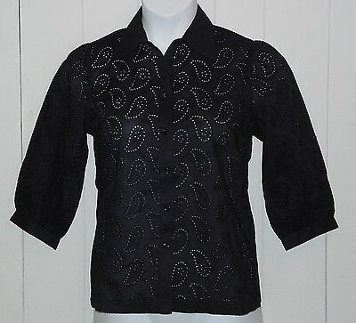 Linea By Louis Dell'olio Cotton Paisley Eyelet Blouse Size L Black
