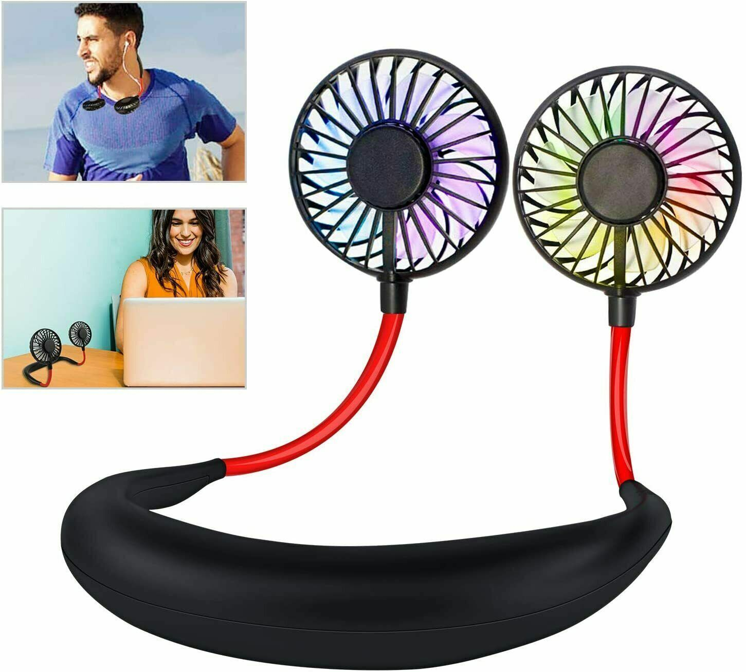 Portable USB Rechargeable Neckband Neck Hanging Style Dual Cooling Mini Fan Sale Heating, Cooling & Air