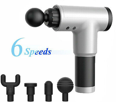 WHITE 6 Speed Massage Gun Deep Tissue Percussion Massager Muscle Vibrating