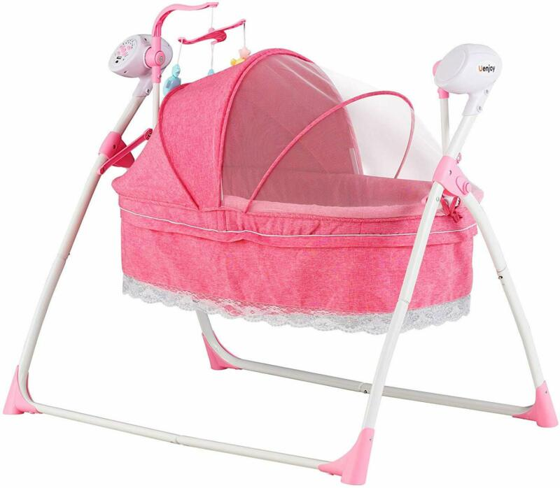 Electric Auto-Swing Bed Baby Cradle 5 Speed Infant Rocker Cot+Mat Chargable W/RC