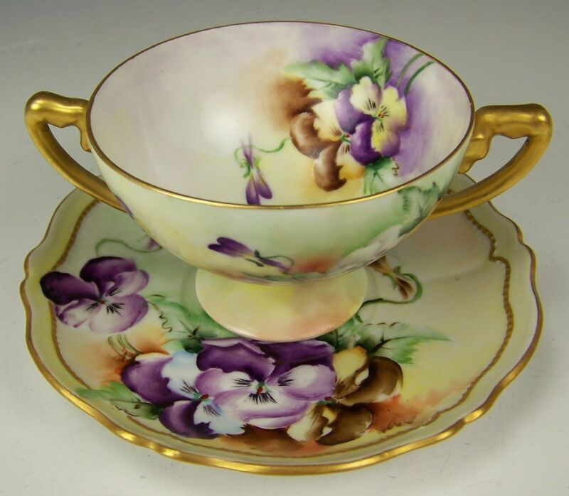 VINTAGE ROSENTHAL HAND PAINTED PANSIES FOOTED CREAM CUP & SAUCER