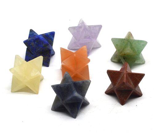 7 Pcs Chakra Merkaba Star Set Reiki Healing Gemstones Geometry Platonic
