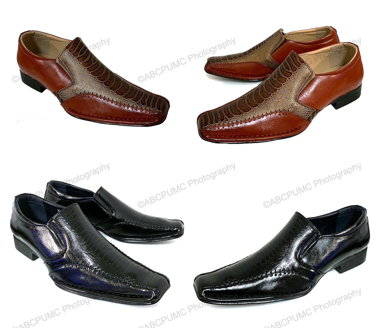 Men Dress Shoes Alligator Crocodile Casual Western Leather Lined Elastic Slip On