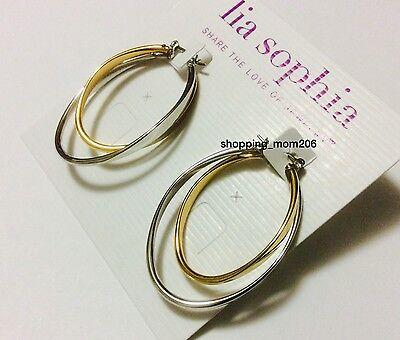 Lia Sophia  Rival  Gold And Silver Hoops Earrings