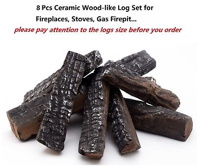 Yl 8 Pcs Ceramic Woodlike Fireplace Logs For Gas Fireplaces   Fire Pit   Stoves