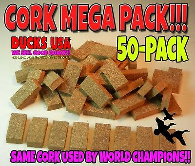Duck Call CORK Wedges 50-Pack  Perfect for Double or Single Reed Acrylic or Poly - Duck Pack