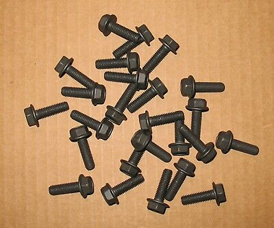 - M6-1.0 x 20mm Hex Flange Bolt Black Zinc Coated Full Thread Class 10.9 - 25 pcs