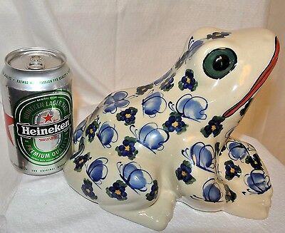 "ANDY Unikat Boleslawiec Poland Art Pottery Handmade Frog Figurine-Unique-8""Mint"
