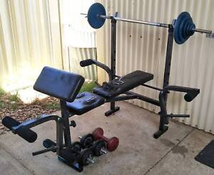 Home Gym Bench Leg Press Curl Station Barbell Weights 3 Dumbbells