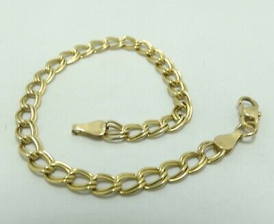 14K Yellow Gold 4.7mm Double Curb Link Chain Bracelet 6.75