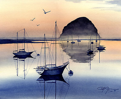 EVENING AT MORRO BAY Watercolor 8 x 10 ART Print Signed by Artist DJ Rogers