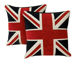 UNION-JACK-Chenille-Cushion-Covers-or-Filled-Cushions-British-Flag-18-45cm