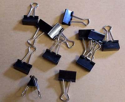 60 Foldbackklammern ( Binder Clips ) 19mm schwarz metal Bügel Bürobedarf Neu OVP