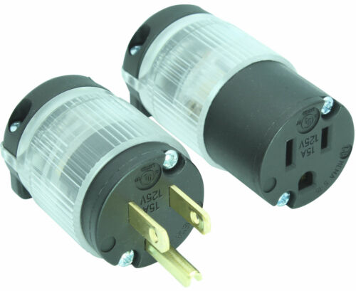 Lighted Male Female Extension Cord Replacement Ends 15 Amp Power Plug Repair LIT