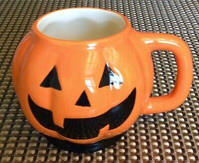 Hand Painted Ceramic Black And Orange Smilng Pumpkin Coffee Cup Mug Planter
