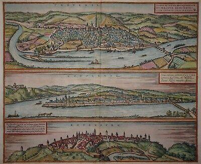 Trier, Koblenz, Rothenburg odT - Braun und Hogenberg - Original um 1580