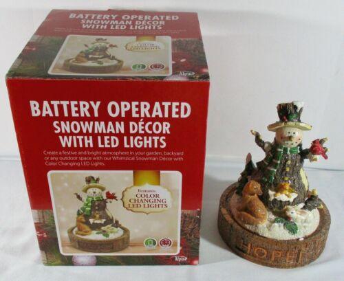 Alpine LED Light Up Snowman Figurine in Box ~ Hope / Faith / Joy