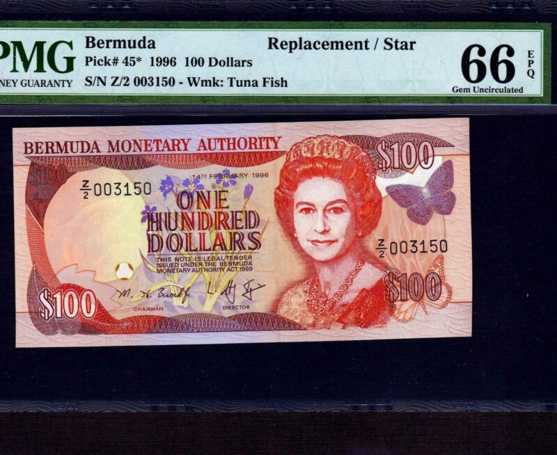 Bermuda 100 Dollars 1996 P-45 * PMG Gem Unc 66 EPQ * Replacement *
