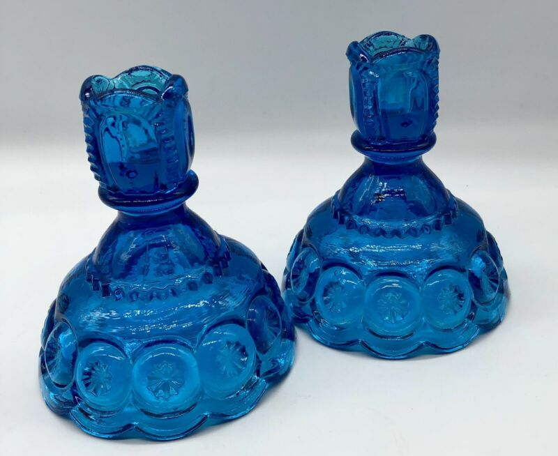 Aqua Blue LE Smith Moon and Stars Candlesticks Vintage Candle Holders
