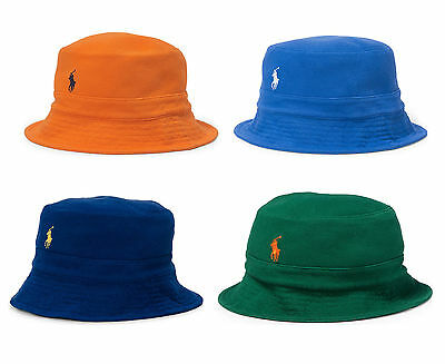 New Polo Ralph Lauren Pony Logo Mesh Cotton Bucket Rim Beach Crusher Hat Cap