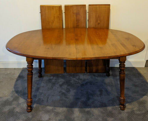 TELL CITY Solid Hard Maple Dining kitchen table & three leaves - Andover Finish