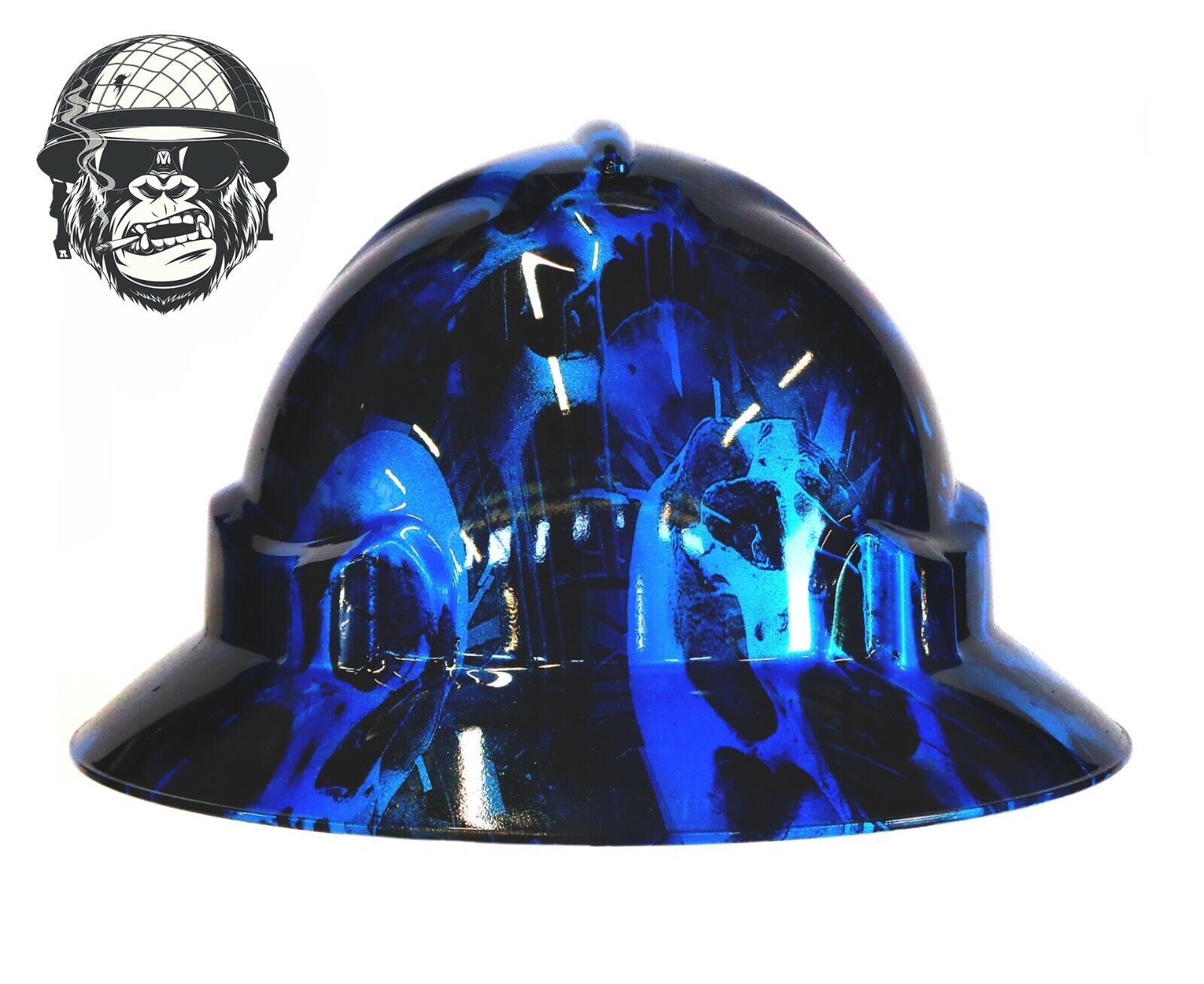 Custom Hydrographic Safety Hard Hat Industrial Mining Skulls - FURY BLUE WIDE