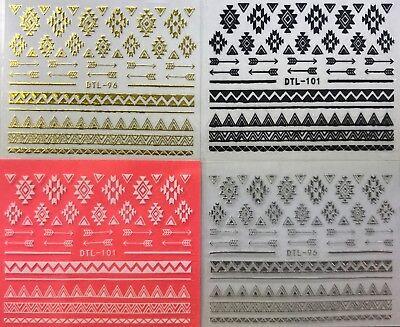 Design 3d Nail Stickers (Nail Art 3D Decal Stickers Tribal Design Arrows Zig Zag DTL96 & DTL101 )