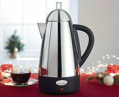 Coffee Percolator Espresso Maker Electric Stainless Steel 1.7l Easy Grip Handle