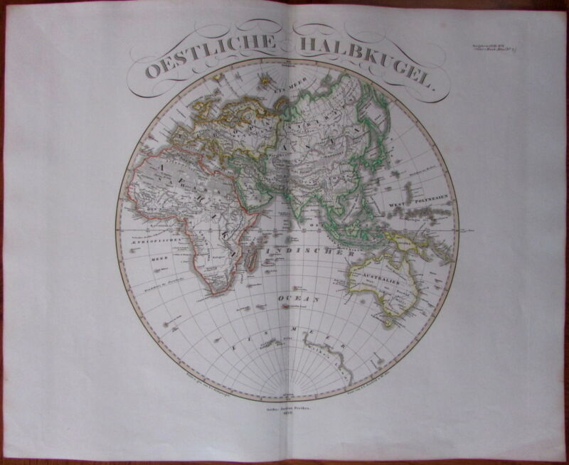 Eastern Hemisphere Africa Europe Asia - 1852 Hand Color Old Stieler World Map
