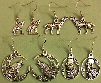 WOLF EARRINGS - Pewter w/Sterling Silver Ear Wires - Choose from 4 Styles COYOTE