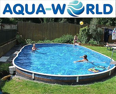 Aqua World Above Ground 30ft x 15ft Oval Swimming Pool