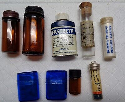 Vintage Pharmacy Medicine Apothecary TOOTHCARE AND SMALL GLASS BOTTLES