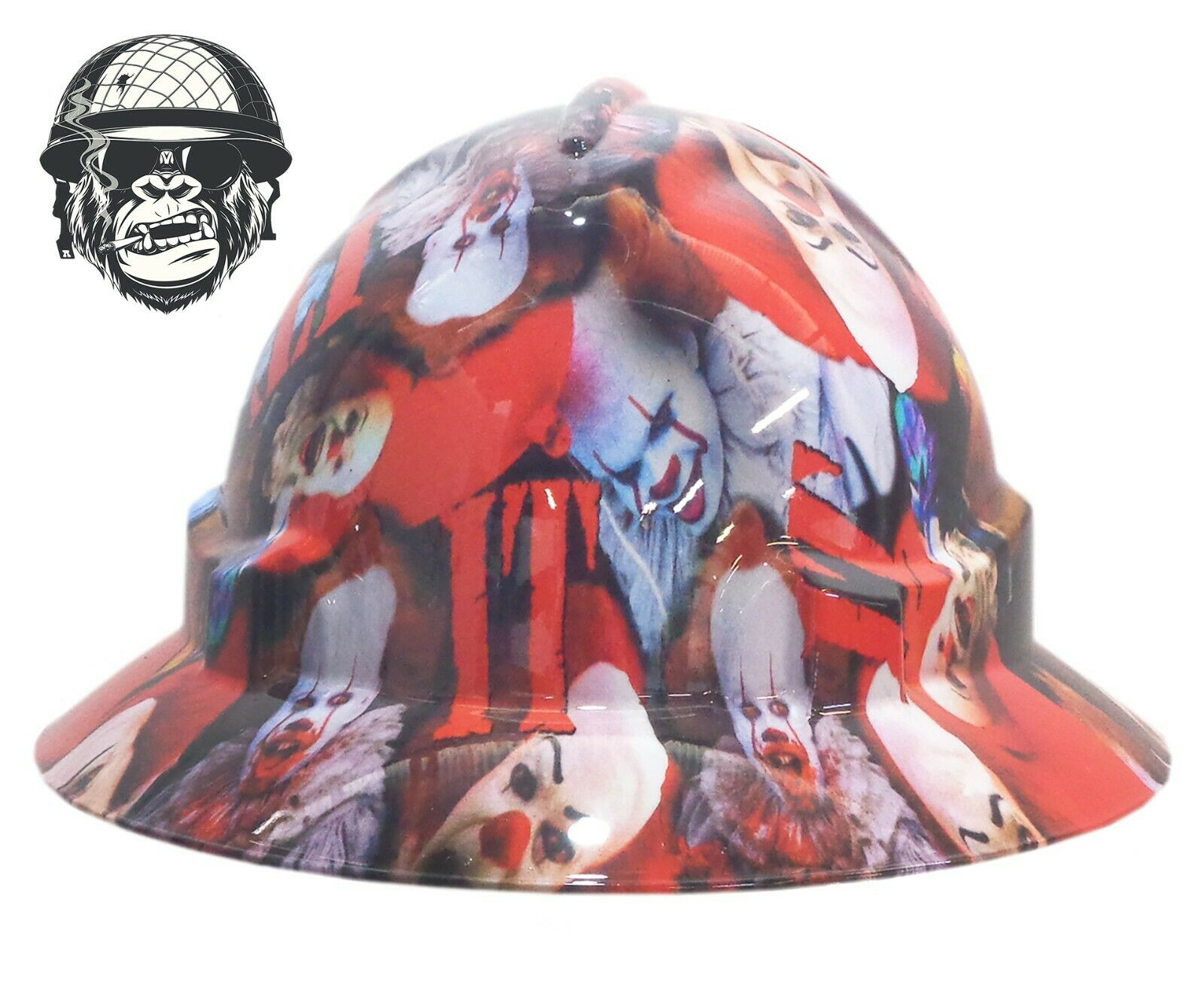 Custom Hydrographic Wide Brim Safety Hard Hat Scary Clown - IT WIDE
