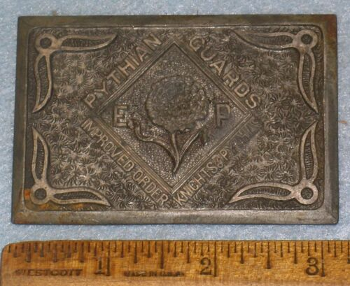 Antique PYTHIAN GUARDS Impd Order KNIGHTS OF PYTHIAS BELT BUCKLE FOUNDRY PATTERN