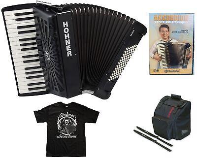 Hohner Bravo 72 Black Piano Accordion Acordeon +Instruction DVD_Bag_Straps_Shirt