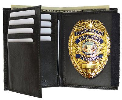 - Delux Metal Badge  LEATHER Badge Holder WALLET
