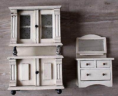 2 Stk.große Küchenmöbel, Schrank, Anrichte 1900/20 Puppenstube