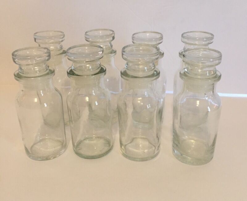 Vintage Spice Bottles Jars Apothecary Glass Clear w Stoppers Lot Of 8