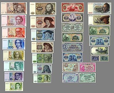 Deutsche Mark 1948-1991,32 Geldscheine,4 Sätze,0,5-1000 DM,Banknoten, Reprodukt*