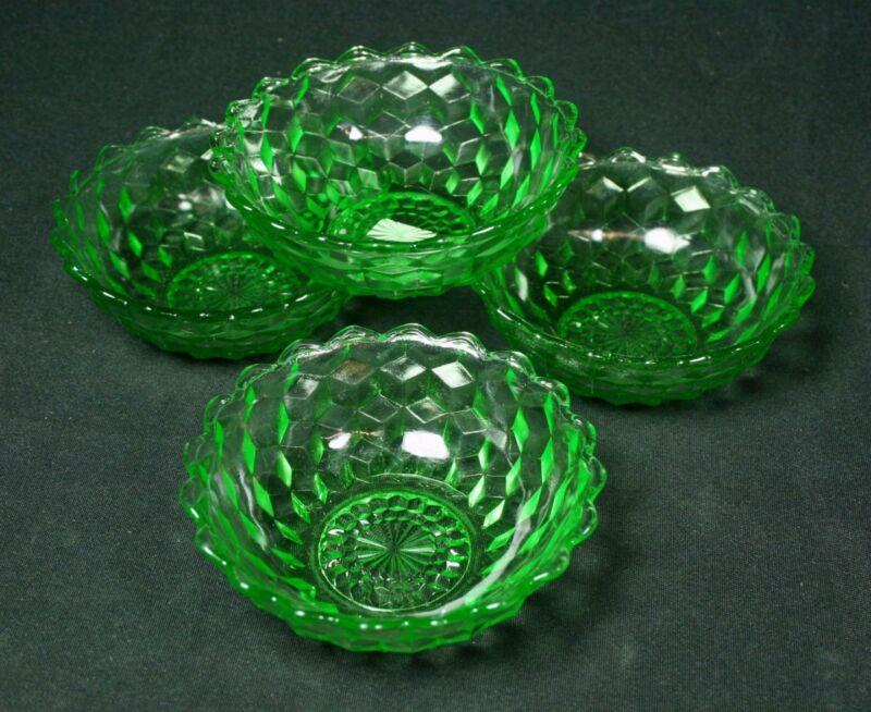 Set of 4 Vintage Jeannette Green Depression Glass Cube Cubist Dessert Bowls