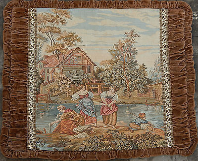 Antique French Beautiful Tapestry 48X55cm (A305)