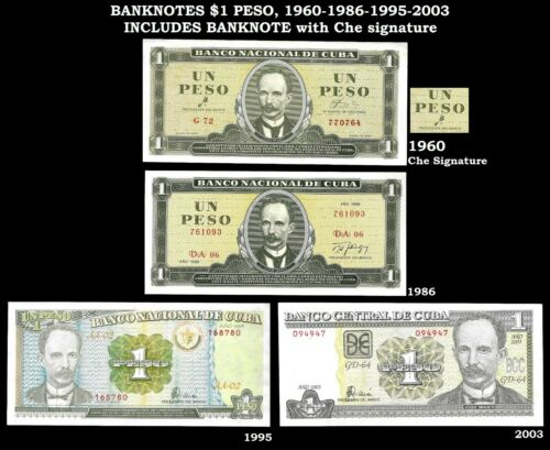 Lot of 4 Banknotes $1 peso, including CHE signature. World Paper Money