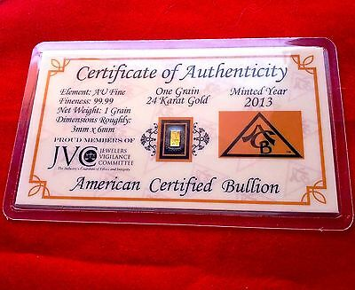 x5 ACB 24K GOLD Vertical 1GRAIN SOLID BULLION BAR 9999 FINE W/CERTIFICATE +