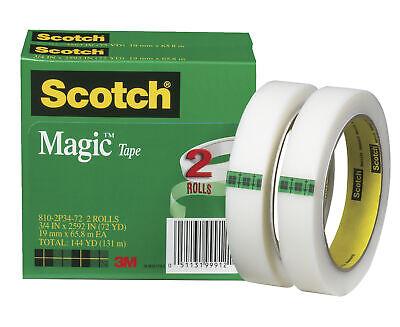 Scotch 810 Magic Tape 0.75 X 2592 Inches 3 Inch Core Matte Clear Pack Of 2