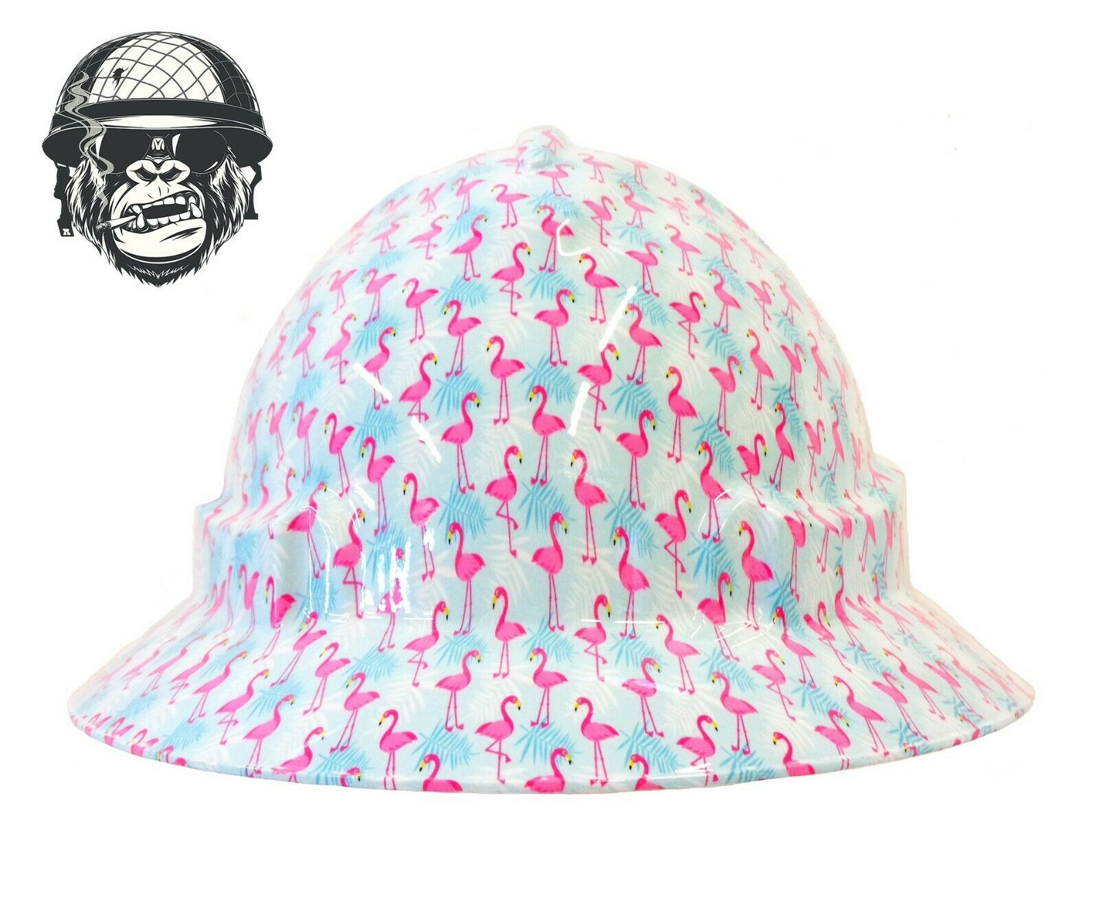 Custom Hydrographic Wide Brim Safety Hard Hats PINK FLAMINGO WIDE