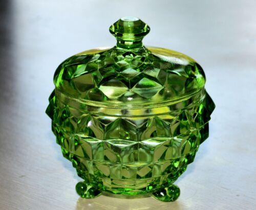 GREEN CUBE CUBIST JEANNETTE 3-TOED POWDER JAR with LID DEPRESSION GLASS VINTAGE